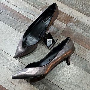 NWT Zara shinny pewter heels size 40